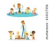 teacher with kids learning... | Shutterstock .eps vector #614217356