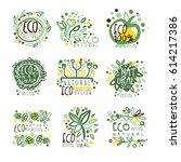 organic  bio  farm fresh  eco ... | Shutterstock .eps vector #614217386