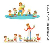 biology lesson in kindergarten  ... | Shutterstock .eps vector #614217446