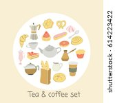 tea and coffee set. isolated...   Shutterstock .eps vector #614223422