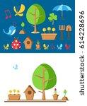 garden tools and elements set...   Shutterstock .eps vector #614228696