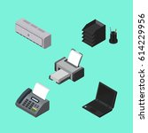 isometric business set of wall... | Shutterstock .eps vector #614229956