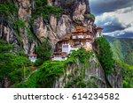 taktshang goemba  tiger nest... | Shutterstock . vector #614234582