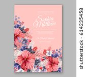 hibiscus wedding invitation...   Shutterstock .eps vector #614235458