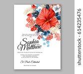hibiscus wedding invitation...   Shutterstock .eps vector #614235476