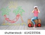 time to travel  child pretend... | Shutterstock . vector #614235506