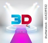 words 3d movies and 3d glasses... | Shutterstock .eps vector #614239532