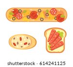 set toasts and sandwich... | Shutterstock .eps vector #614241125