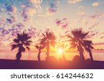 Silhouette Of Palm Trees And...