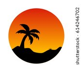 palm tree at tropic sunset | Shutterstock .eps vector #614246702