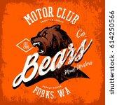 vintage american furious bear... | Shutterstock .eps vector #614250566