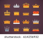 collection of crown icons... | Shutterstock .eps vector #614256932