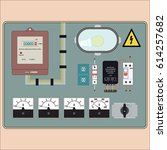 picture of the electrical panel ... | Shutterstock .eps vector #614257682