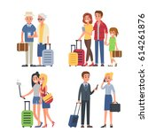different traveling people... | Shutterstock .eps vector #614261876
