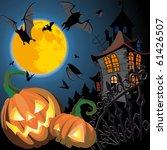 pumpkin halloween card with bat ...   Shutterstock .eps vector #61426507