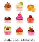 bright realistic cupcakes with... | Shutterstock .eps vector #614268545