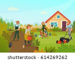 gardening colored cartoon... | Shutterstock .eps vector #614269262
