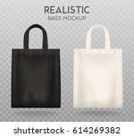 black and white tote shopping... | Shutterstock .eps vector #614269382