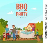 colored cartoon barbecue party... | Shutterstock .eps vector #614269412