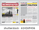 Daily newspaper journal design template with two-page opening editable headlines quotes text articles and images vector illustration | Shutterstock vector #614269436