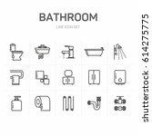 bathroom line icon set | Shutterstock .eps vector #614275775