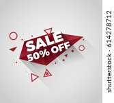 sale red polygonal crystal tag... | Shutterstock .eps vector #614278712