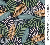 tropical background with palm...   Shutterstock .eps vector #614280866