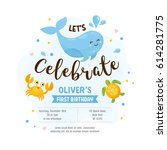 invitation or greeting card... | Shutterstock .eps vector #614281775