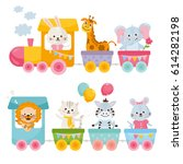 card with cute animals on train.... | Shutterstock .eps vector #614282198