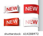 set of white and red ribbons... | Shutterstock .eps vector #614288972