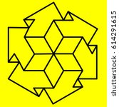 geometry. optical illusion arrow | Shutterstock .eps vector #614291615