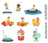 children ride on attractions in ... | Shutterstock .eps vector #614293205