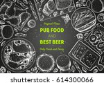 pub food frame vector... | Shutterstock .eps vector #614300066