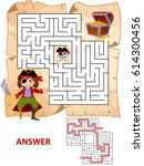 help pirate find path to... | Shutterstock .eps vector #614300456