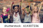group of kindergarten kids... | Shutterstock . vector #614307236