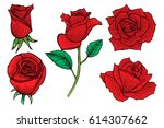 Stock vector set of decorative red roses beautiful realistic flowers vector illustration 614307662