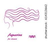 aquarius zodiac sign. stylized... | Shutterstock .eps vector #614313662