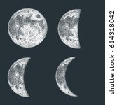 moon phases vector illustration.... | Shutterstock .eps vector #614318042