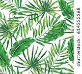 green palm leaves on the white... | Shutterstock .eps vector #614322368