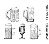 beer glass  wooden mug. sketch... | Shutterstock .eps vector #614324582