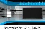 tv studio. blue studio..tv on... | Shutterstock . vector #614343605