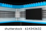 tv studio. blue studio..tv on... | Shutterstock . vector #614343632