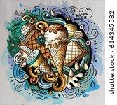 ice cream art cartoon vector... | Shutterstock .eps vector #614345582