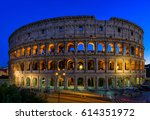 night view of colosseum in rome ... | Shutterstock . vector #614351972