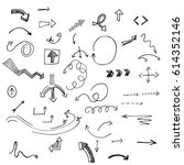 hand drawn vector arrows set. | Shutterstock .eps vector #614352146
