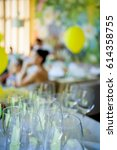 set of empty wineglasses on... | Shutterstock . vector #614358755
