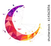 colorful crescent moon in... | Shutterstock .eps vector #614362856