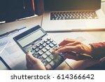 businessman's hands with...   Shutterstock . vector #614366642