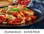 pappardelle pasta with shrimp ... | Shutterstock . vector #614367818