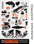 woodcut style of japanese... | Shutterstock .eps vector #614374922